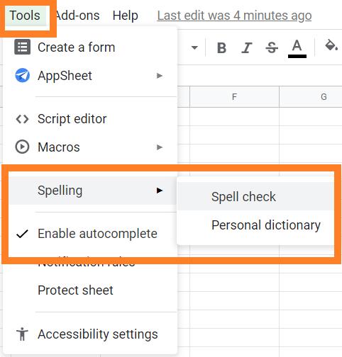 Spell check on google sheet