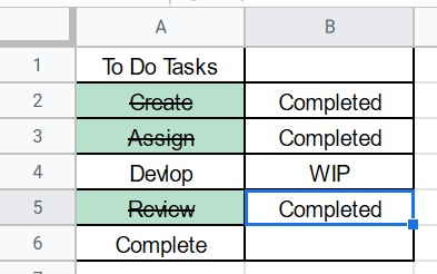 How to Strikethrough in Google Sheets
