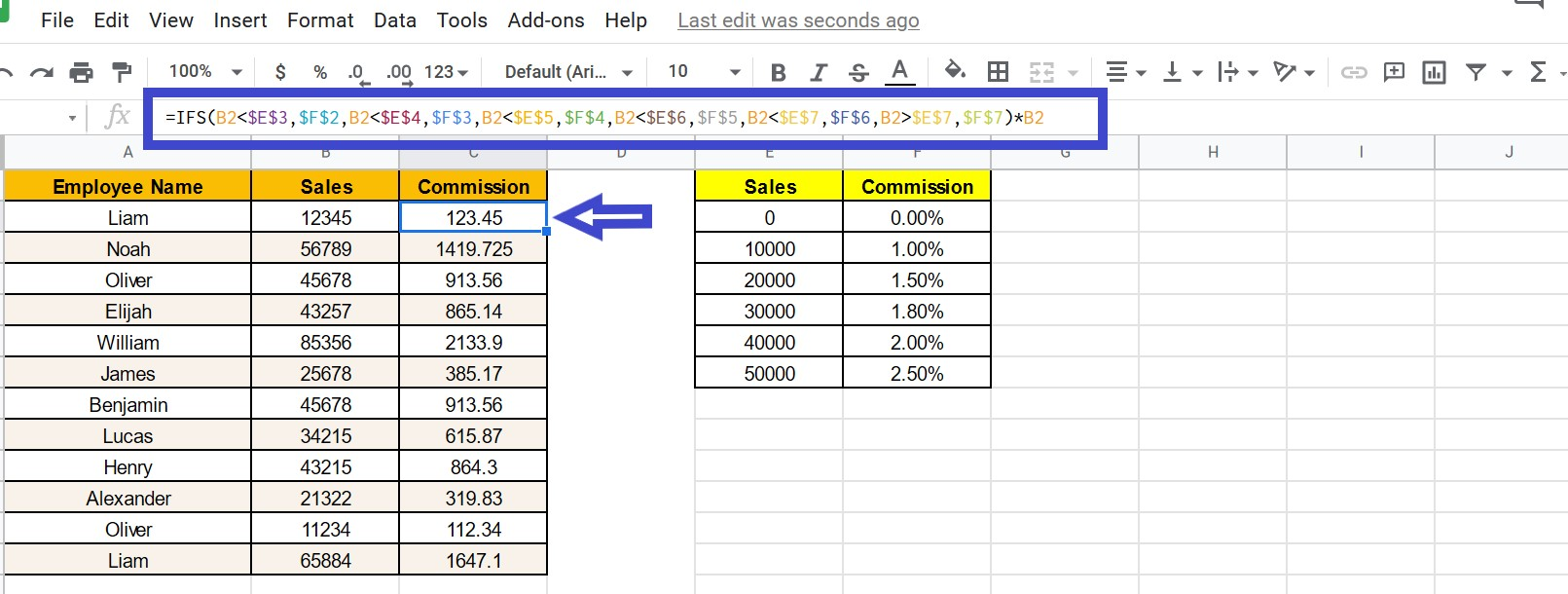 How to use IFS Function in Google Sheets