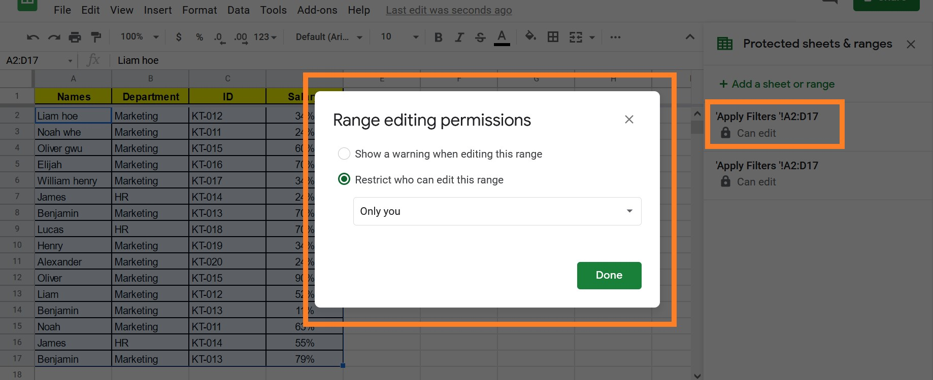 Protect Data in Cells in Google Sheet