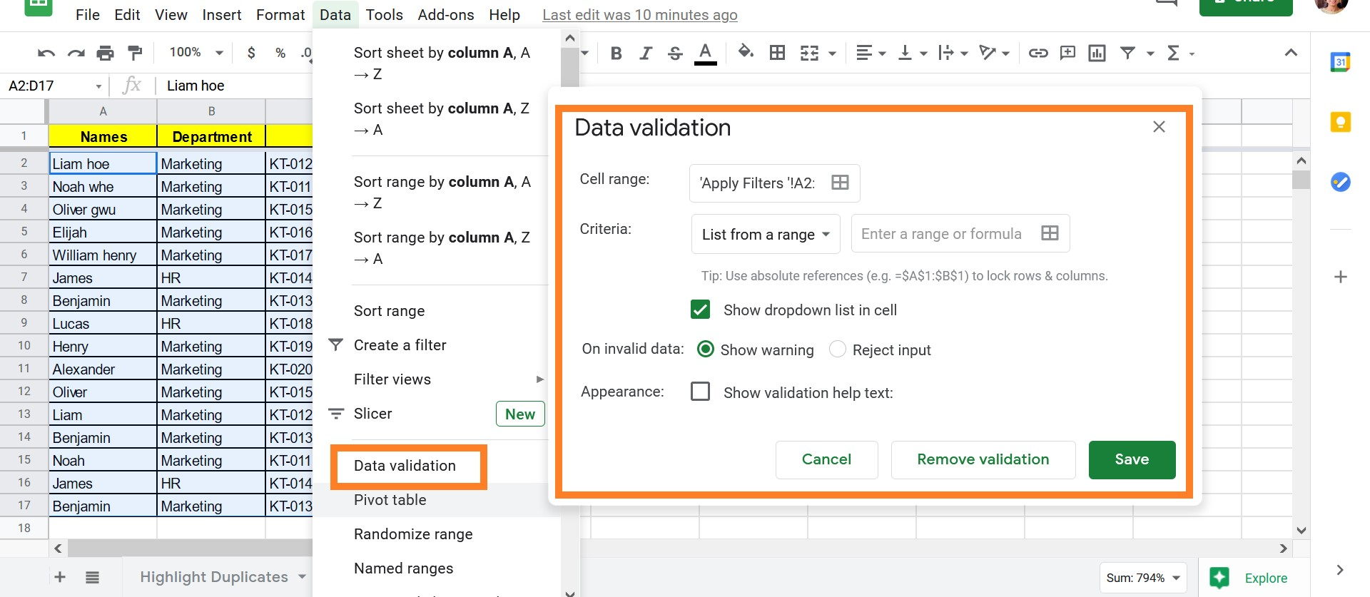 Validate Data in Cells