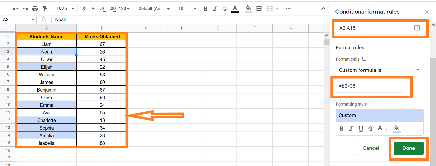 conditional formatting in Google sheets based on another cell