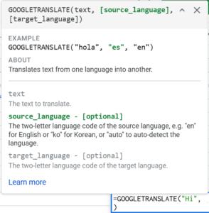 translate language in google sheet