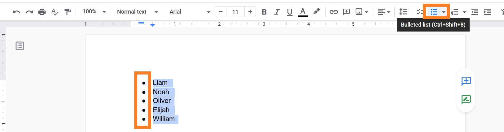 how to add bullets in google sheets