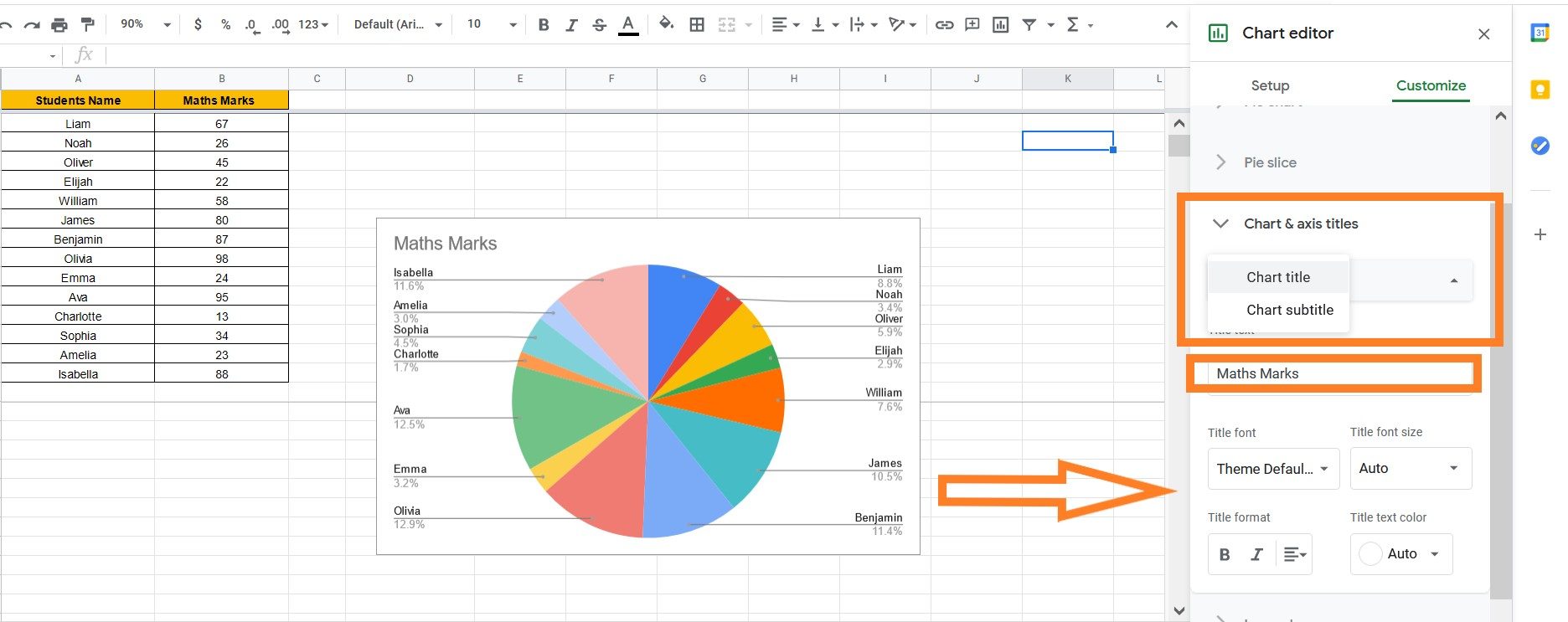 how to change pie chart title in google sheets
