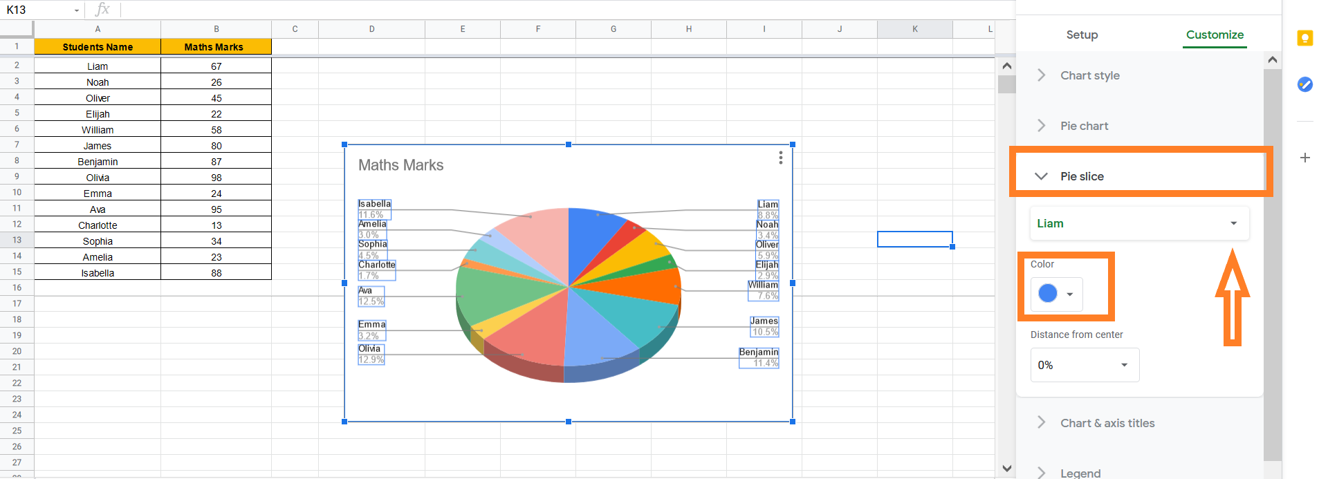 how to change pie slices color on pie chart