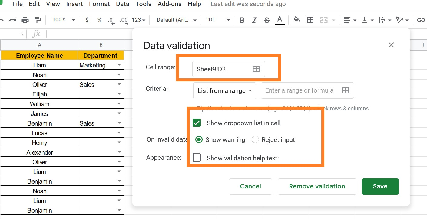 how to create a drop down list in google sheets