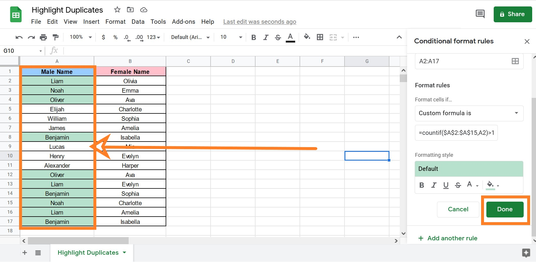 how to find duplicate entries in google sheets
