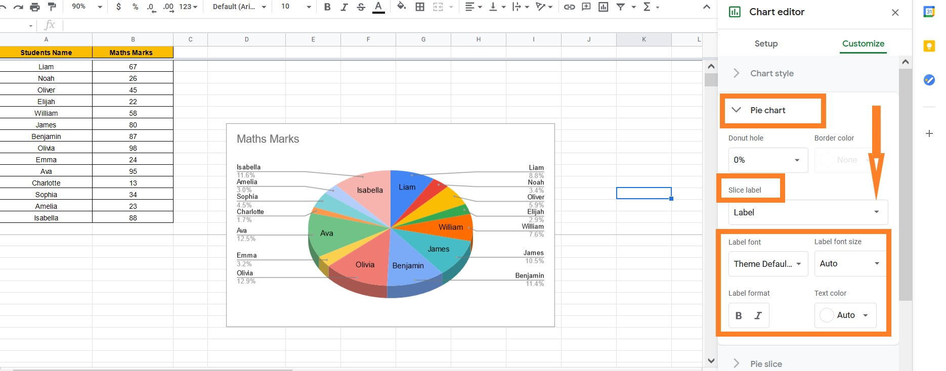 how to label a pie chart on google sheets