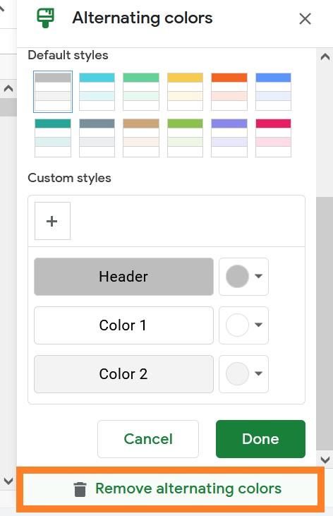 remove alternating colors