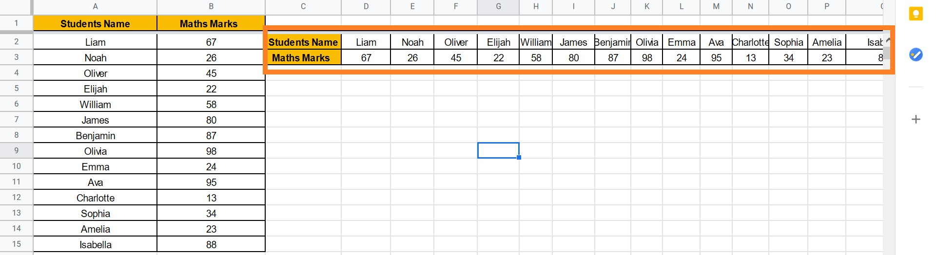 transpose data in google sheets
