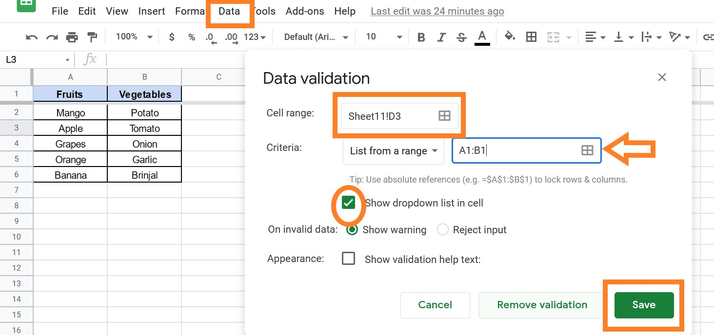 How to Create a Dependent Drop Down List in Google Sheets