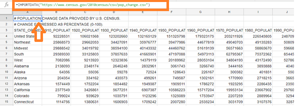 importdata function in google sheets