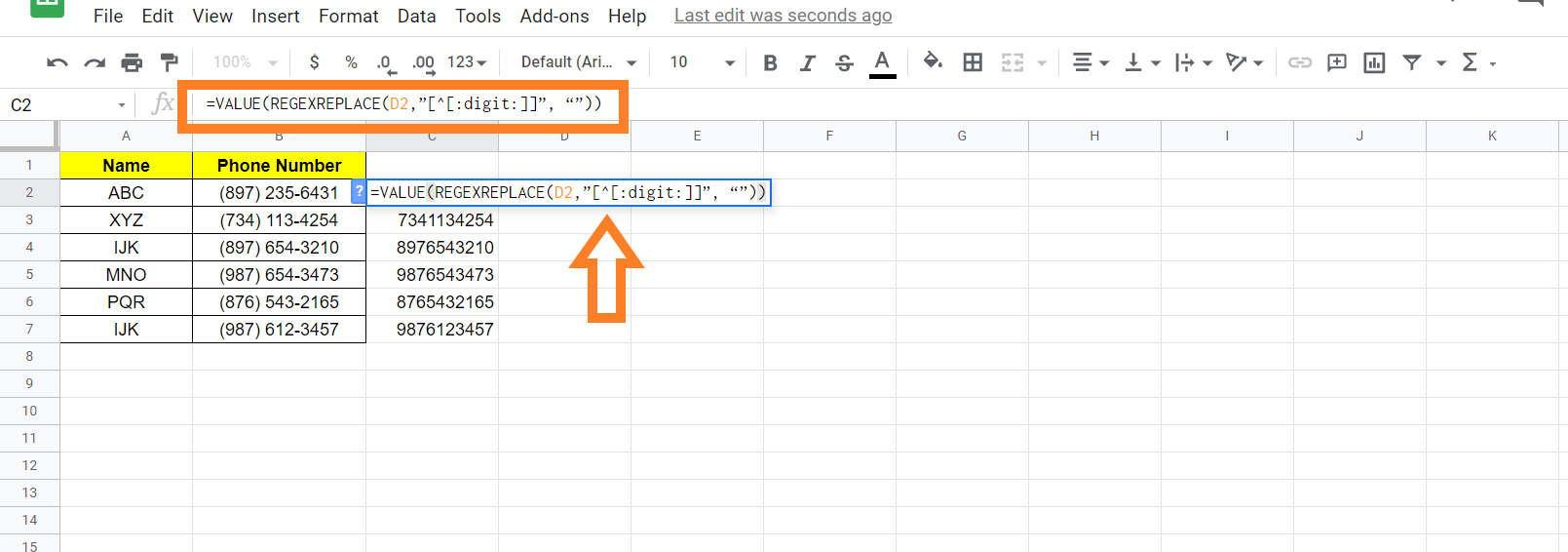 how to format phone number in google sheets