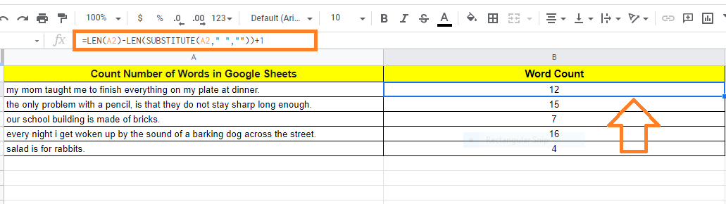 count number of words in google sheets