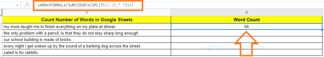 count number of words in Google Sheets4
