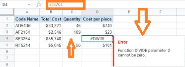 div error google sheets