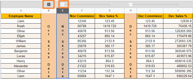 group columns in google sheets