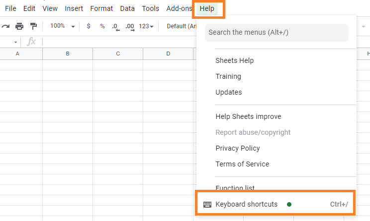 keyboard shortcuts in google sheets