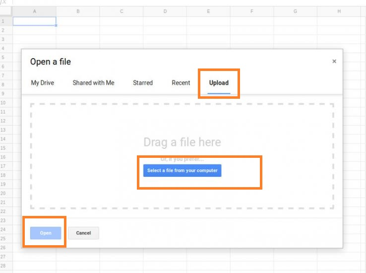 open csv file in google sheets4