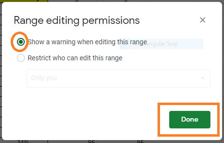 how to protect range of cells in google sheets