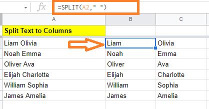 split text to columns using formula