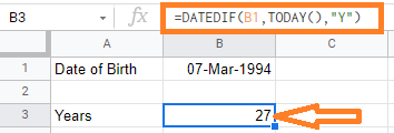 calculate age google sheets