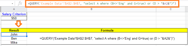 query function in google sheets