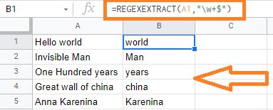 regexextract google sheets