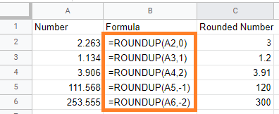 round number google sheets