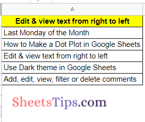 edit and view text from right to left in Google Sheets
